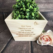 Personalised Plant Pot Remembrance In Memory Flower Wooden Box Pet Loss Large