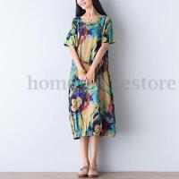 ZANZEA Women Short Sleeve Batwing Floral Print Loose Full-Length Long Maxi Dress