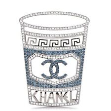 CHANEL CC logo Brooch Pin 18B Strass Large Statement Coffee Cup Fall Winter NEW