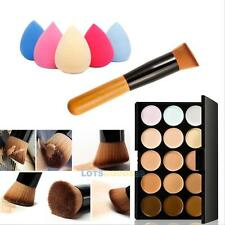 15 Colors Face Cream Contour Makeup Concealer Palette Sponge Puff Powder Brush L