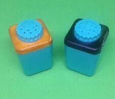 Vintage Turquoise Salt Pepper Shakers plastic Teal orange black Mid century Mod