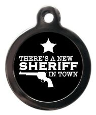 New Sheriff In Town Pet ID Tag - Puppy Kitten Name ID Tags - Personalised FREE
