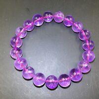 Natural  Amethyst Quartz Crystal Lucky Round Beads Bracelet 11mm