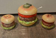 Vintage Ensco Hamburger Salt & Pepper Shakers and Mustard Relish Condiment Bowl