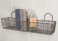 Set Of 2 Vintage Style French Bakery Baskets Metal Wire Rustic Country Farmhouse