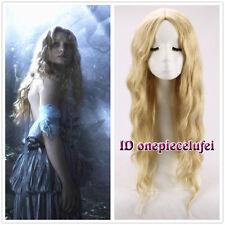 Alice in Wonderland Alice Long blonde no bang wavy Curly Cosplay Wig +a wig cap