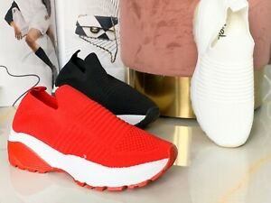 WOMENS LADIES SLIP ON MESH TRAINERS RUNNING GYM SNEAKERS PARTY WOMEN SHOES SIZE