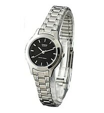 Casio LTP1128A-1A Ladies Stainless Steel Casual Dress Watch New Black Dial
