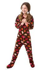 Big Feet Pjs - Infant & Toddler - Chocolate Brown W/ Heart Fleece Footed Pajamas