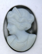 NOS New Antique Large Oval Black & White Cameo Stone  Facing Left #J136