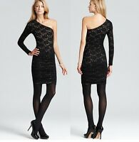 NEW BCBG MAX AZRIA BLACK ONE SHOULDER LACE SLIM FIT MINI SEXY DRESS XS S M L