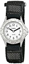 Ladies Kids Timex Easy Reader Black Nylon Canvas Band White Dial Watch T79051