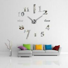 Wall Clock Large Number 3D Mirror Sticker Modern Home Office Decor Art Decal DIY