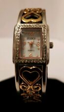 Studio time womens bangle style watch heart design band silver rectangle case