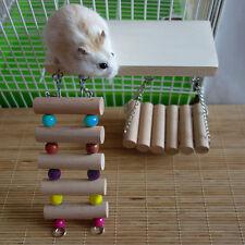 Pet Wooden Toys Rat Mouse Parrot Hamster Hanging Swing Ladder Bridge Shelf Cage