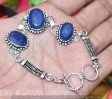 "Blue Sapphire Gemstone Bracelet 925 Silver Overlay Size 7""- 8"" U264-B109"