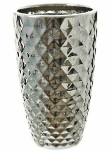 Large Chrome Pineapple Textured Vase Geometric Silver Colour Conical Flower Vase