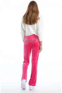 Juicy Couture Women's Bling Crystal Logo Velour Classic Track Pant, Pink Party