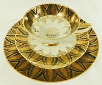 3pc Trio Set HMS Royal Hanover Germany 24K Gold Tea Cup Saucer Dessert Plate