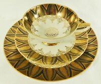 3pc Trio Set HMS Royal Hanover Germany 24K Gold Tea Cup Saucer Dessert Plate