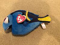 "TY Sparkle Disney Finding Dory Blue Fish Beanie Plush 9½"" Stuffed Animal Nemo!!!"