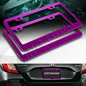 2 X CAR AUTO METAL LICENSE PLATE FRAME HOLDER PURPLE ALUMINUM ALLOY FRONT & REAR