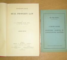Introduction to Real Property Law 1938 Second Edition by Watson with Leaflet