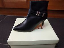FAITH BLACK SEAT LEATHER BOOTS DOUBLE BUCKLE DETAIL UK 8 EUR 41