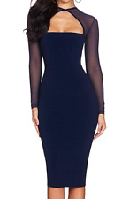 Herve Leger Bodycon Bandage Cocktail Dress Transparent Long Sleeves A664 *S