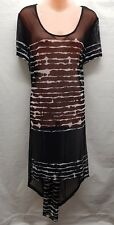 TAKING SHAPE BLACK WHITE STRIPE OVER TOP SMART CASUAL RESORT TOP/ DRESS SIZE S