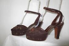 40s Vtg Brn Suede Open toed Ankle Strap Platform Sandal Shoes Decorated Diva 7M