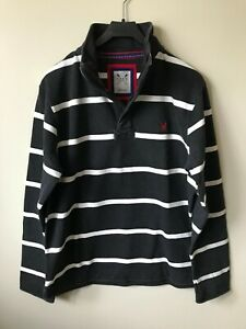 New Mens Crew Clothing Sweatshirt Pique cotton Charcoal S-XXXL Half Zip Stripes