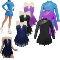 Girls Figure Ice Skating Competition Costume Sparkly Dress Ballet Gym Leotards