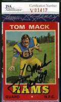 Tom Mack 1975 Wonder Bread Jsa Certed Autograph Authentic Hand Signed
