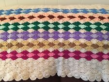 Beautiful Crochet Scalloped Afghan Blanket Throw Soft Multi-Colored