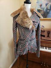 Roberto Cavalli ITALY Lana Wool Fur Detach Collar Zip Front Jacket Coat 40 small