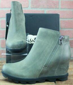 Sorel Women's Joan of Arctic Wedge II Zip Up Bootie Boot - Quarry Size 9