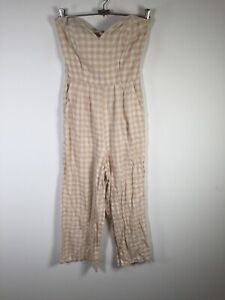 Glassons womens beige white check Strapless jumpsuit size 8 linen viscose