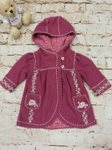 Baby Girls Monsoon Pink Embroidered Wool Coat with Hood Age 3-6 Months