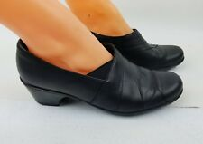 WOMENS CLARKS BENDABLES SOFT CUSHION COMFORT BLACK LEATHER  WORK SHOES SIZE  9M