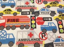 ~ FLANNEL~ Cars~Fire Truck~Police~Quilting~Fabric~Flannelette~Blue~Red~Boys~FQ ~