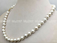 """Pretty 6/8/10/12mm South Sea White Shell Pearl Round Beads Necklaces 18"""" AAA"""