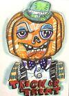 Halloween Pumpkin Fun ACEO ATC original art Card  miniature collectible Painting