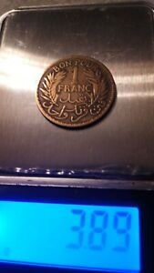 French Tunis colony 1921 year 1 FRANC BON POUR brass