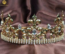 Renaissance Tiara Diadem Imperial Crown Crystal Headpiece Pageant Party Costumes
