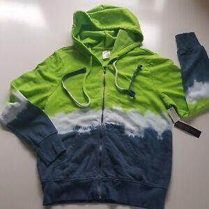 No Boundaries Junior Tie Dye Hoodie Full Zip Pockets Drawstring Green Blue NWT
