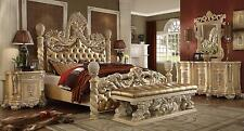 Homey Design HD-7266 Traditional Ornately Golden Khaki Cal King Bedroom Set 5Pcs