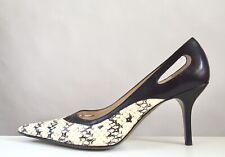 Dolce & Gabbana dk brown cutout leather snakeskin stiletto heels shoes 39 8.5-9