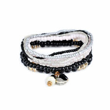 Bohemian Boho Beaded Multi Layer Crystal Leaf Charm Bracelet Set Black White