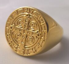 G-Filled 18ct yellow gold Men's ring Saint Benedict medal Cross Christianity God